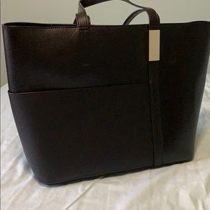 DKNY black leather tote bag